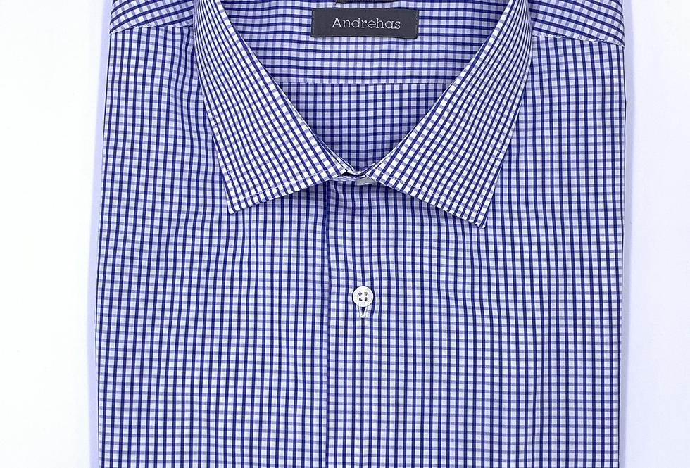 Camisa de vestir cuadro azul. Algodón egipcio.