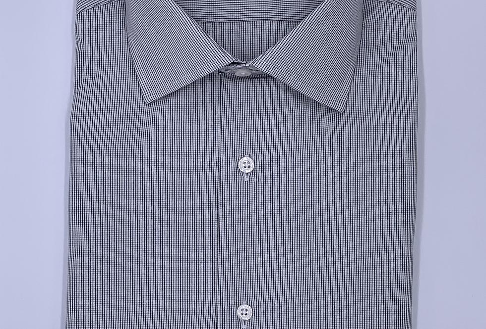 de Camisa de vestir cuadro milimetrado negro