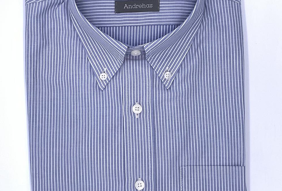 Camisa de rayas azul cielo. Hilo melange.