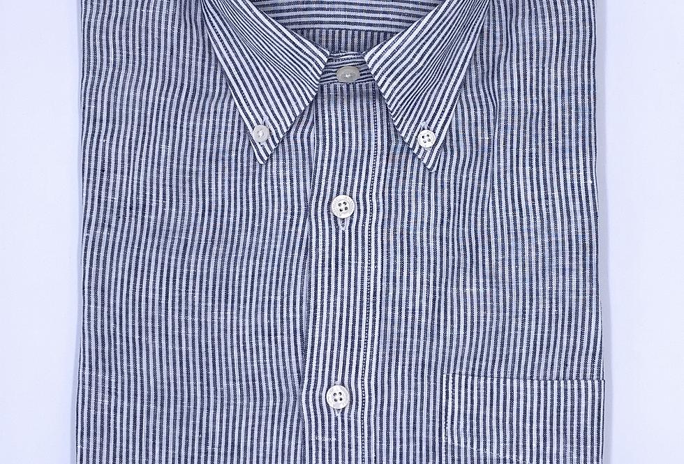 Camisa de lino raya fina azul marino