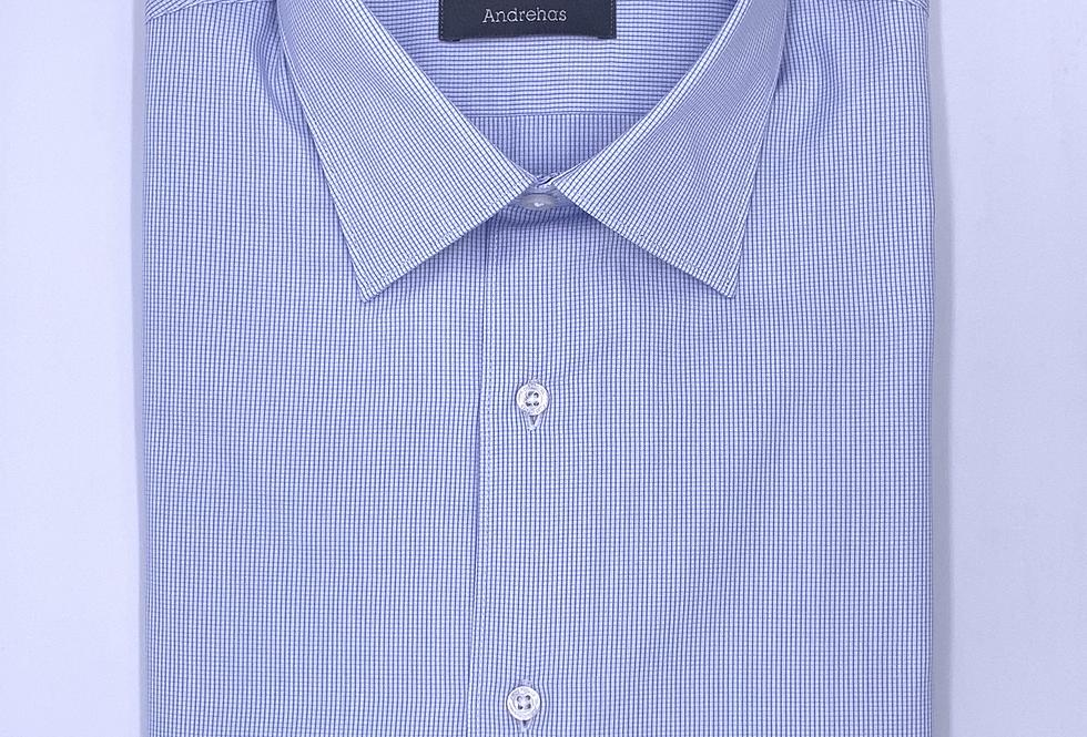 Camisa de vestir cuadro milimetrado azul