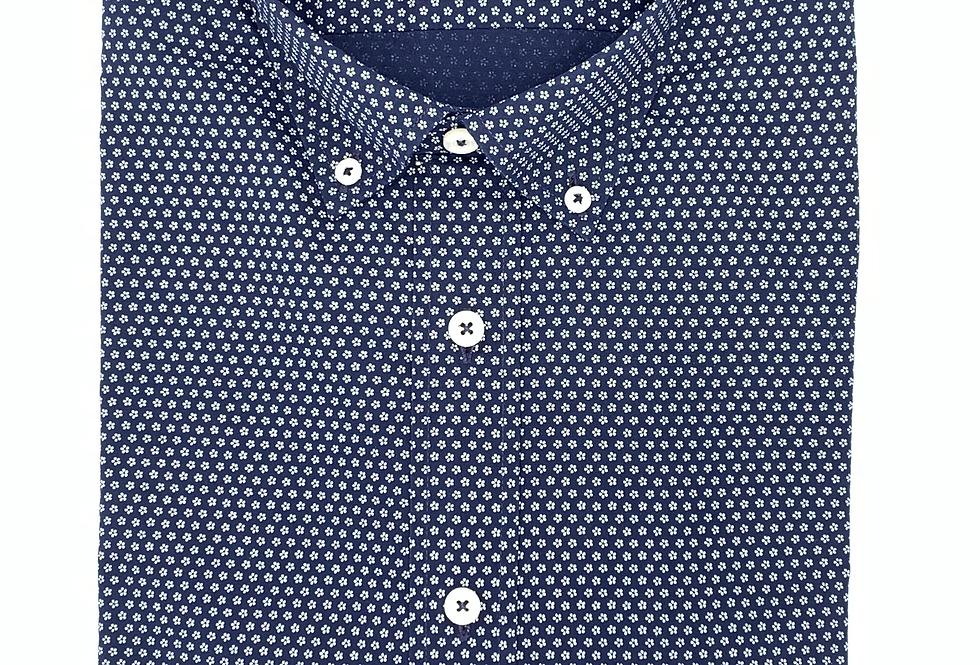 Camisa popelín azul marino con estampado floral blanco. Edición limitada.