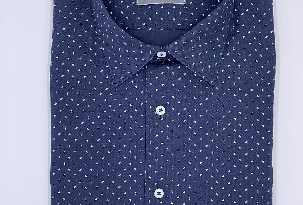 Camisa azul con estampado en blanco. Edición Limitada.