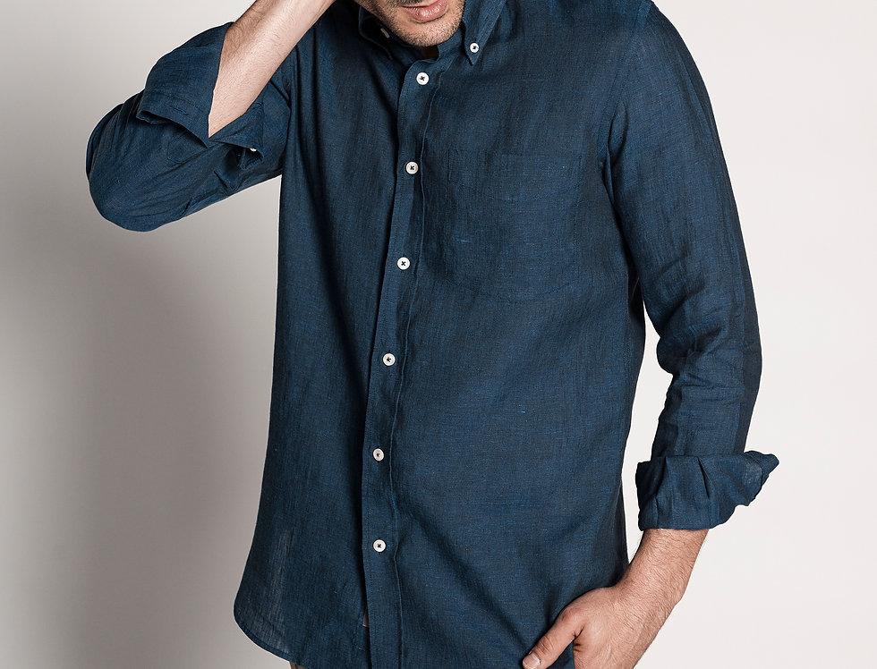 Camisa de lino azul marino