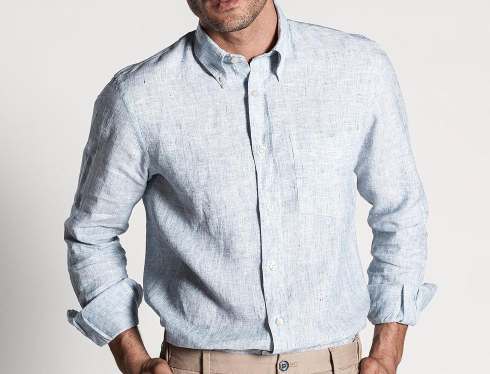 Camisa de lino gris azulado