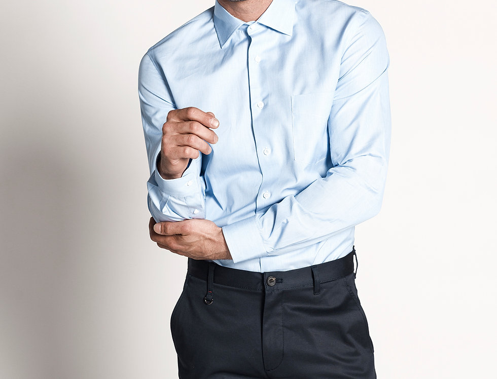 Camisa de vestir mil rayas azul