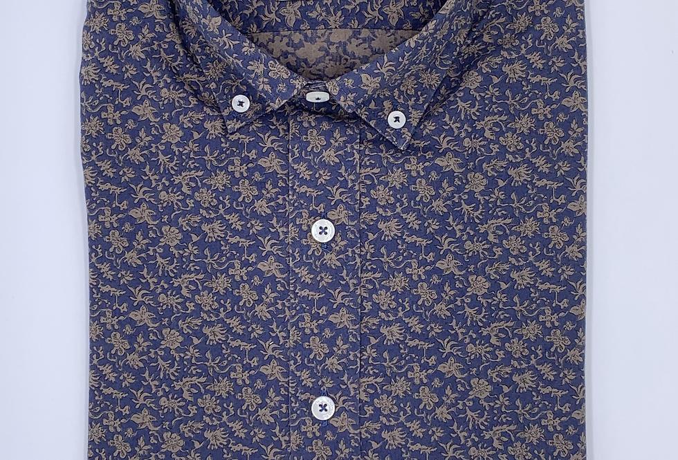 Camisa estampado floral azul marino y ocre