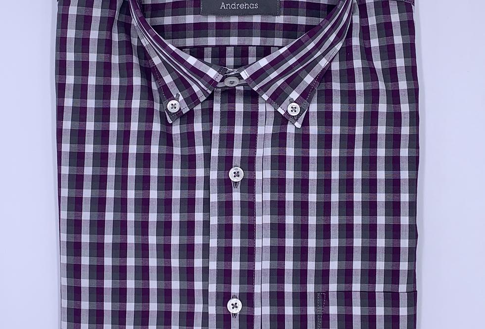 Camisa de cuadros violeta, gris y blanco