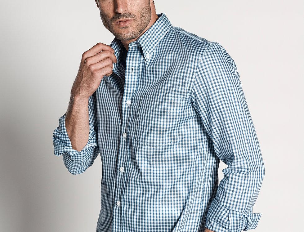 Camisa oxford cuadro vichy azul.