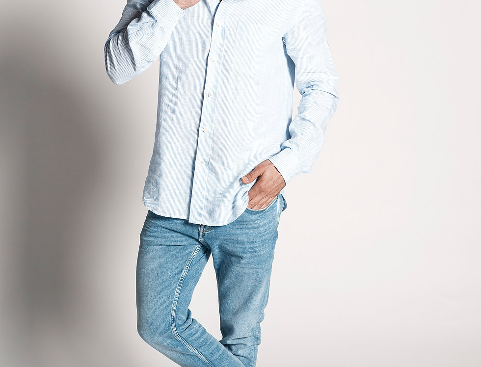 Camisa de lino raya candela azul cielo