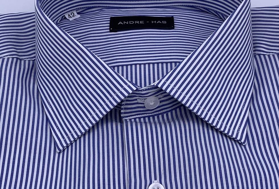Camisa de vestir raya candela media azul marino