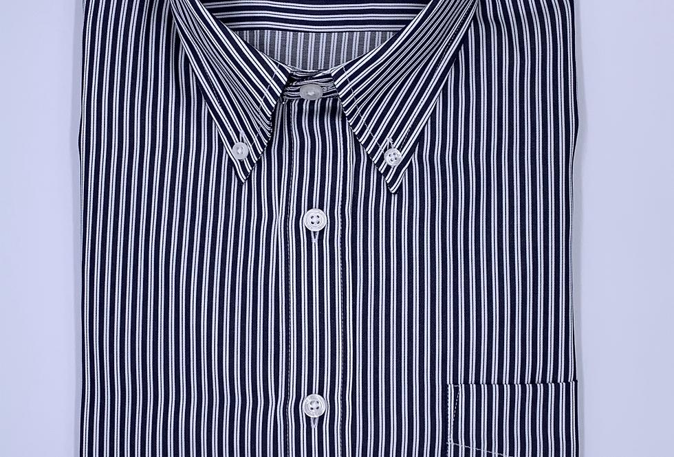 Camisa de rayas azul marino twill