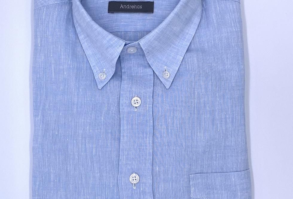 Camisa de lino azul celeste