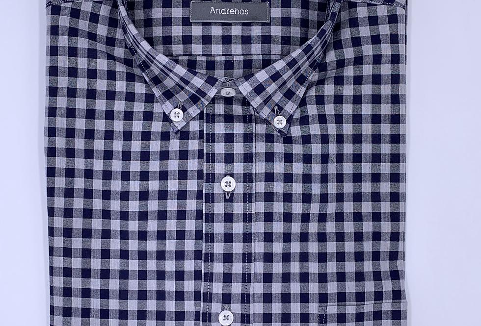 Camisa de cuadros  gris melange y azul marino