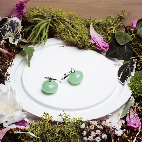 """Boucles d'oreilles """"Les classiques"""" - verre et argent 925 - vert opaline"""