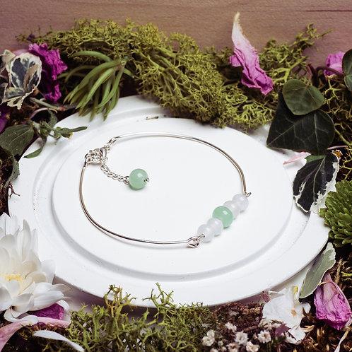 """Bracelet modèle """"Les Délicats"""" collection Mariage - verre et argent 925 -vert"""