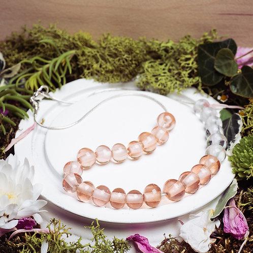 """Collier""""Les asymétriques"""" - verre et argent 925 - rose"""