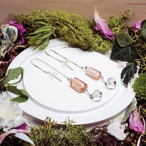 """Boucles d'oreilles """"Les asymétriques"""" - verre et argent 925 - rose"""