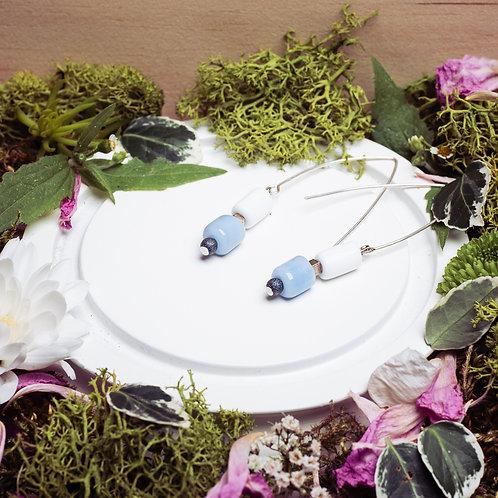 """Boucles d'oreilles """"Les glacés"""" - verre et argent 925 - bleu et blanc"""