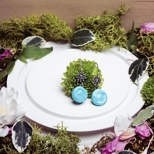 """Boucles d'oreilles """"Les raffinés"""" - verre et argent - bleu turquoise"""
