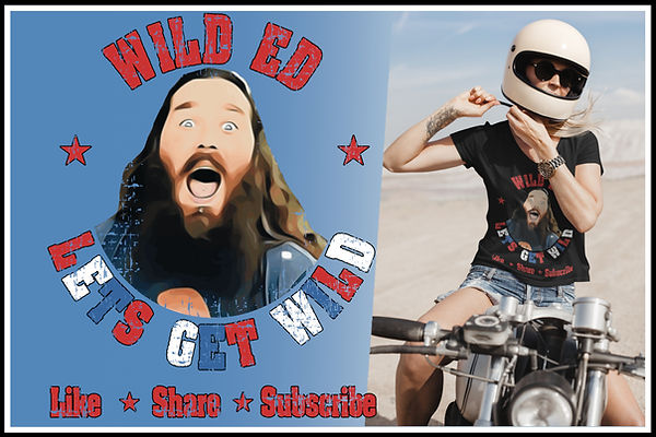 Vneck V-neck Ladies Wild Ed Lets Get Wild Like SHare & Subscribe Red white & Blue Ed Ruftu