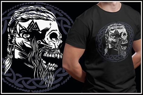 Nordic Viking Zombie Skull Design Ruftup