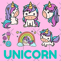 Super Cute Cartoon Unicorns, Comic Style Unicorn Design, Pink, Unicorn Text