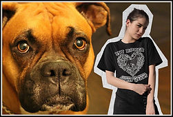 MY BOXER LEAVES PAWPRINTS ON MY HEART All Black Silohette Version By Ruftup Designs