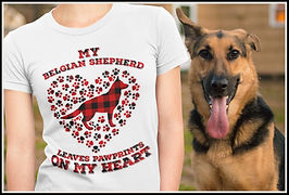 My Belgian Shepherd Leaves Pawprints on my Heart (Plaid) By Ruftup.com