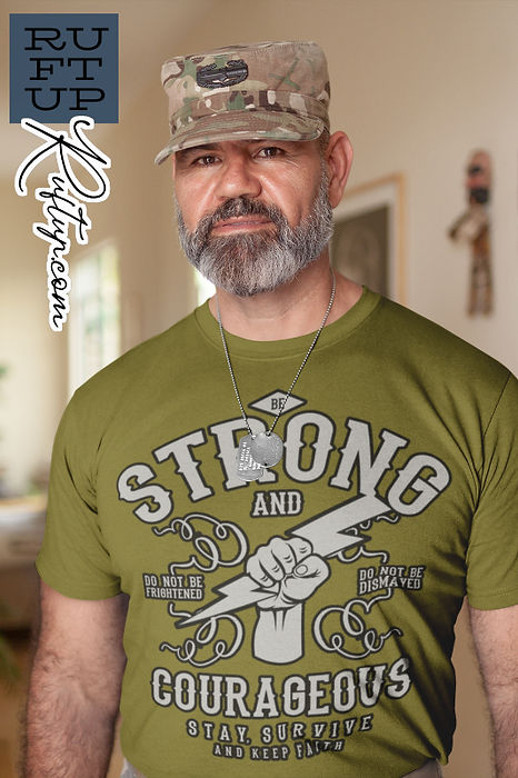Veteran modelling Ruftup Be Strong and Courageous Design Indoors