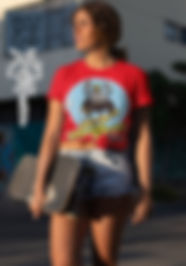Pretty, Model, skateboard, sporting a ruftup Design Graphic Tshirt in Red, Challenge Accepted SKATE Art
