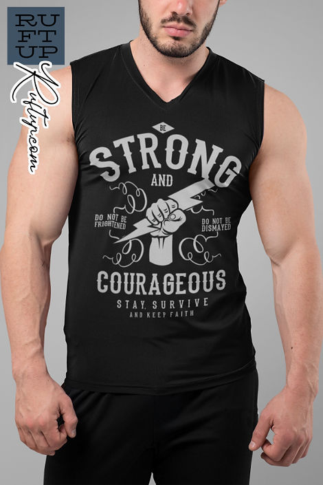 Be Strong and Courageous Design on a black tank top muscle vest mockup of a bearded muscular man at home