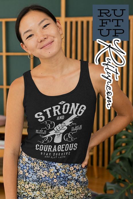 Be Strong and Courageous Design on a Black heather tank top mockup featuring a happy and relaxed looking woman