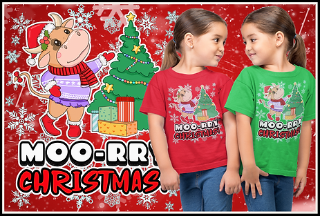 Super-Cute Cow - Moo-rry Christmas Design by ruftup.com