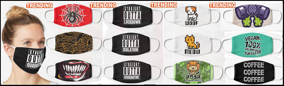 Advertisment showing face mask coverings from Ruftup Designs available on the Redbubble Platform.