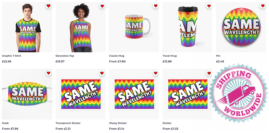 Advertising for the latest Ruftup Design teams quirky, fun, flirty, gay pride printed products