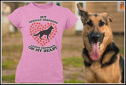 My German Shepherd Leaves Pawprints on my Heart Red Edition By Ruftup Design Team