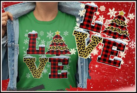 Leopard Print & Plaid Christmas Love Design by Ruftup.com