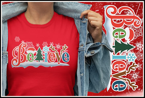 Christmas Festive Believe Design by Ruftup.com