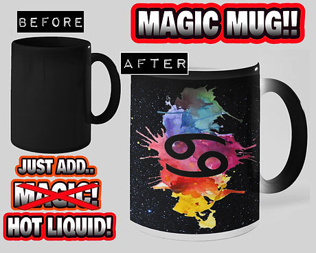 Cancer Artists - The Magic Mug reveals our Art Splat Watercolour Design & the Cancer Zodiac Star Sign