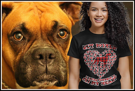 My Boxer Leaves Pawprints On My Heart (Red Plaid Edition) by Ruftup Design Team