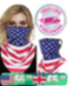 Over Ear Bandana Face Mask - USA American Flag Print