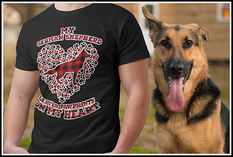My German Shepherd Leaves Pawprints On My Heart (Buffalo Plaid) by Ruftup Design Team