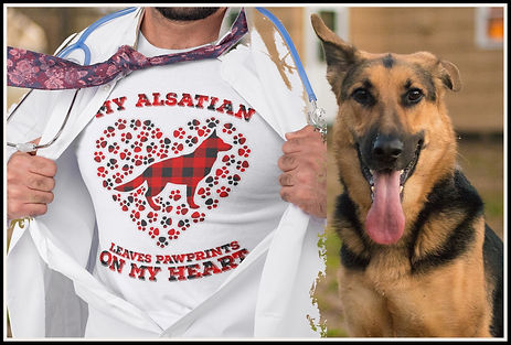 My Alsatian Leaves Pawprints On My Heart (Buffalo Plaid) By Ruftup Design Team