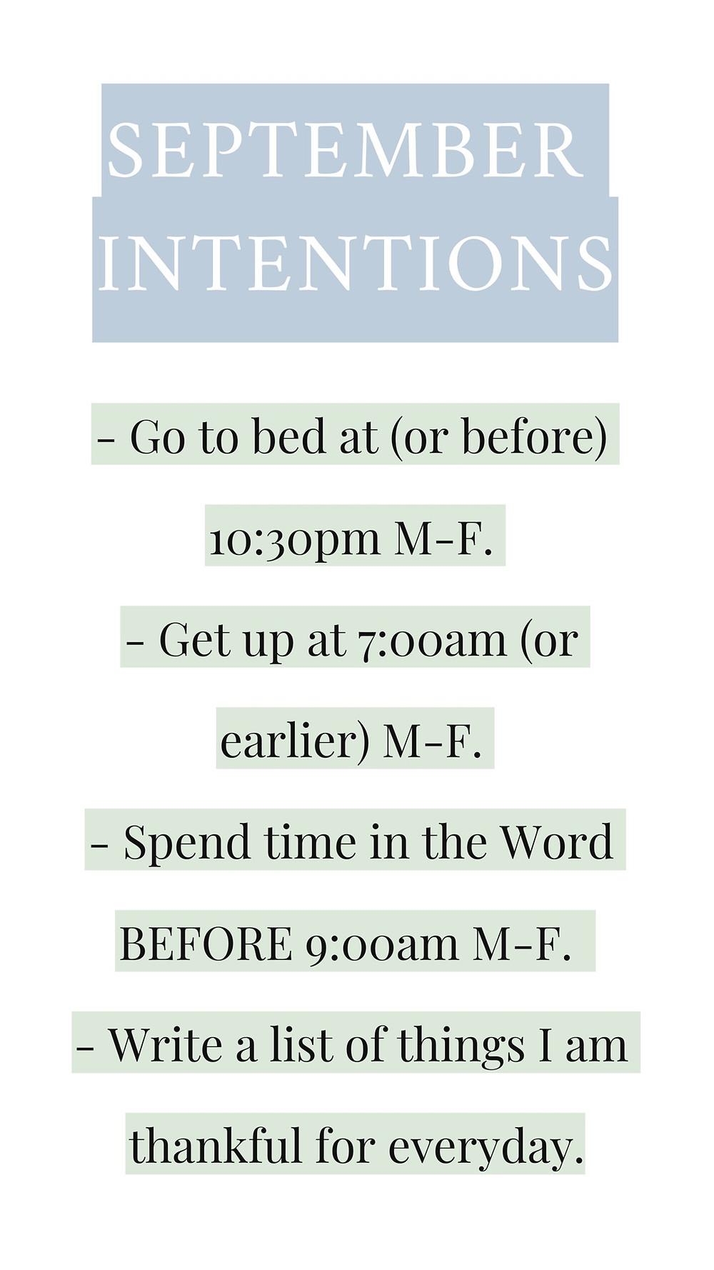 September Intentions