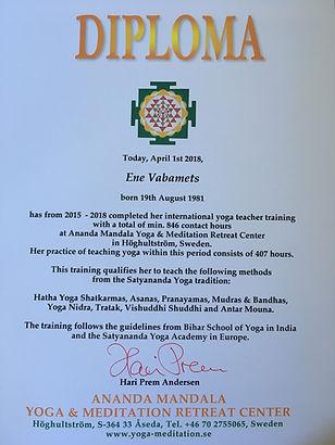 Diploma av yogalärare utbildning