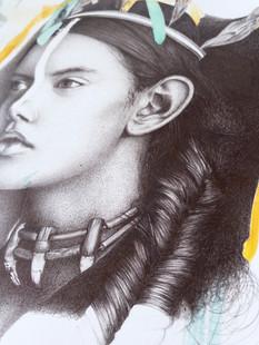 dessin au stylo bille d'une indienne.