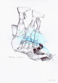 dessin au stylo bille d'une jeune fille.