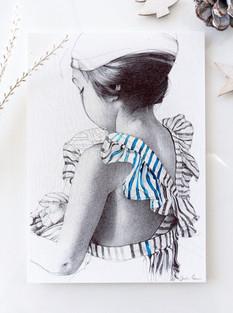 dessin au stylo bille d'une petite fille.
