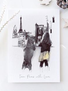 dessin au stylo bille d'une petite fille et de son chien.